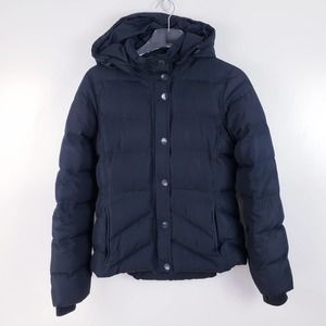 J. Crew Black Down Filled Hooded Puffer Coat Small